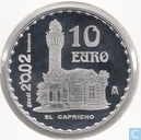"Spanje 10 euro 2002 (PROOF) ""150th anniversary of the birth of Antoni Gaudi - El Capricho palace"""
