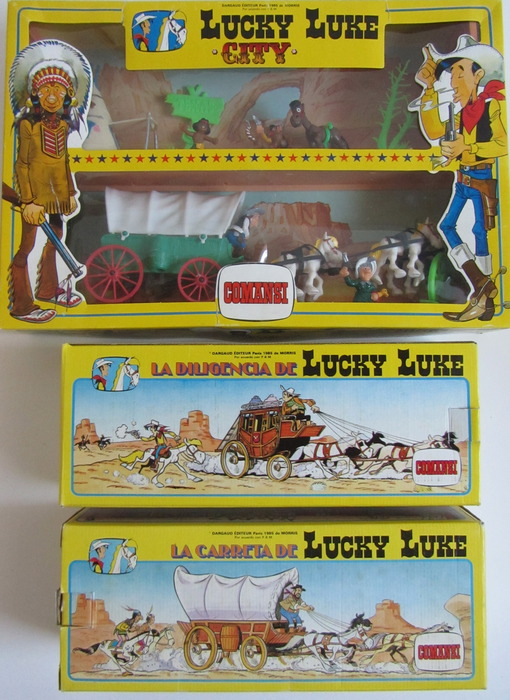 Lucky Luke - Comansi - 1985 - 3 Sets, city, postkoets en huifkar