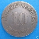 German Empire 10 pfennig 1876 (F)