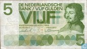 NETHERLAND 5 GULDEN 26.04.1966,Pick23-1b, A.V. 18-1d,SERIAL No.;XA - XM,SEE SCA