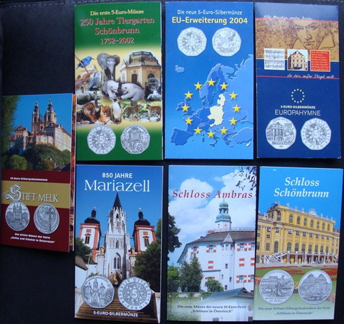 Austria 5 And 10 Euro Coins In Blister Packs 7 Packs Total 2002