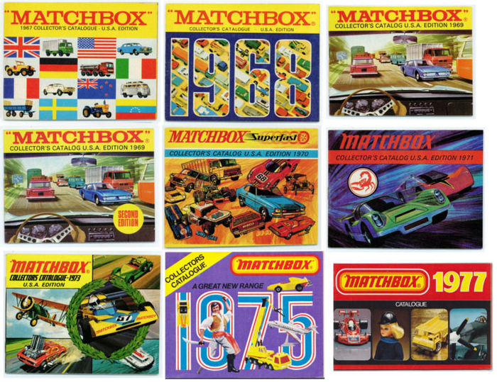 Matchbox - 9 Original vintage catalogues from 1967, 1968, 1969 (2 x), 1970,  1971, 1973, 1975 and 1977 - Catawiki