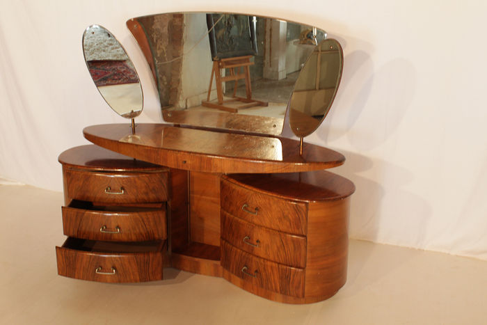 Art deco root wood veneered dressing table catawiki
