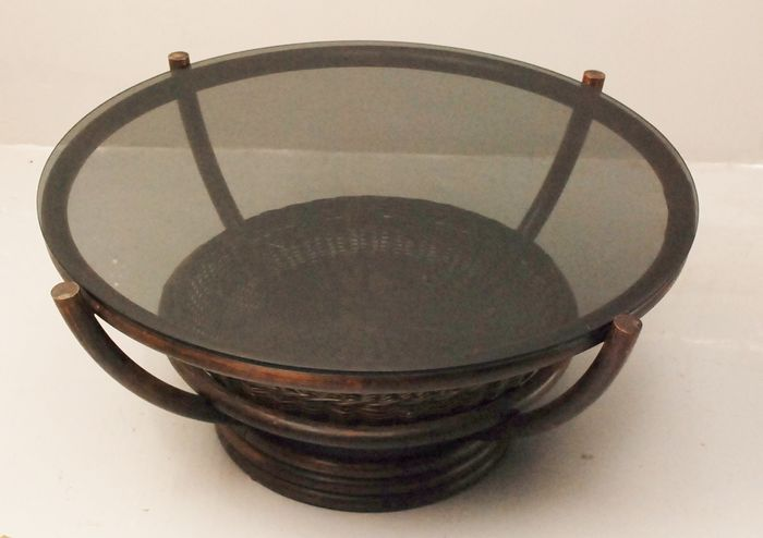 Rattan coffee table with smoking glass, second half 20th century, Netherlands