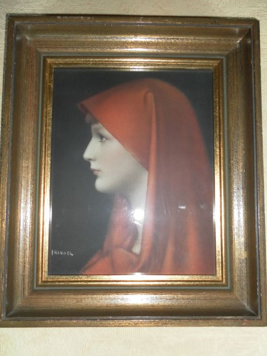 "Saint Fabiola or ""Lady with Red Scarf"" to Jean Jacques Henner - 1st half of 20th century"