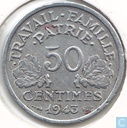 France 50 centimes 1943 (Heavy type)