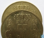 Coins - Luxembourg - Luxembourg 5 francs 1986 (narrow rim and smaler crown)