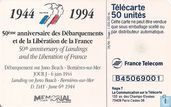 Phone cards - France Telecom - Memorial Caen - 50e An - J. Beach Bernières