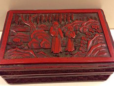 Wooden, lacquer box - China - around 1900.
