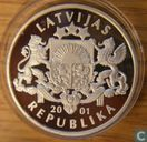 "Latvia 1 lats 2001 (PROOF) ""Ice Hockey player Olympics salt lake city"""
