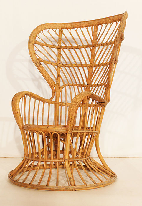 Gio Ponti For Vittoro Bonacina   Rattan/wicker Peacock Chair