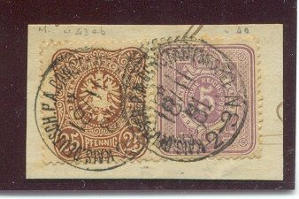 German mail service in Turkey - Michel V32 and V43 in mixed postage on letter pieces