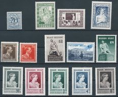 Belgium 1951 – Complete year with Queen Elisabeth, Breendonk I and Castles – OBP 841/875.
