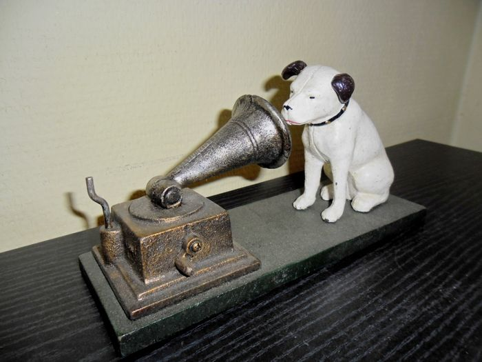 English cast-iron image of His Masters Voice Nipper dog, late 20th century