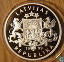 "Latvia 1 Lats 1999 (PROOF) ""Cyclists - Olympic games Sydney"""