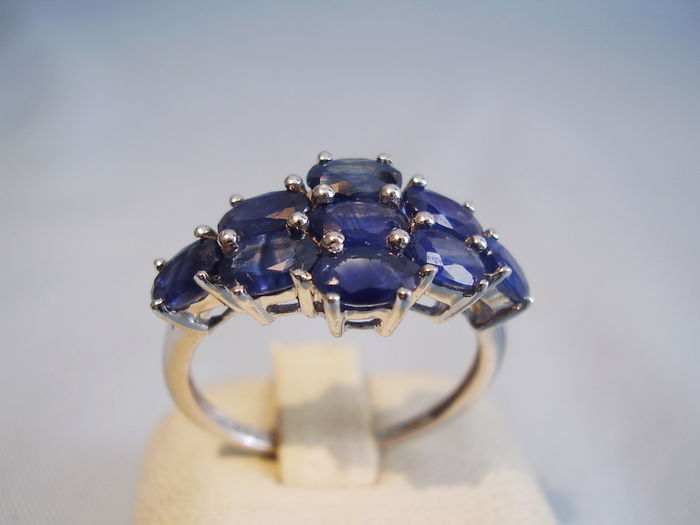 sapphire gold ring faux real diamond products vintage