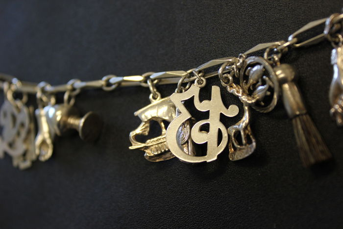 925 silver bracelet with 14 charms