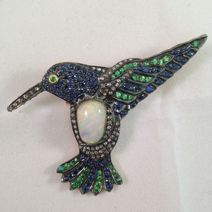 Bird Brooch With 3 Different Kinds Of Precious Stones And One Big White Opal In The Middle Catawiki