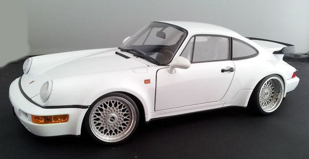 Welly Schaal 118 Porsche 964 Turbo Wit Met Bbs Rs