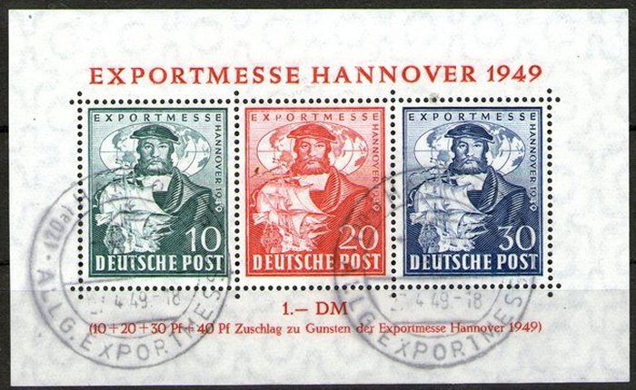 Germany allied occupation bizone 1949 export messe for Hannover souvenirs
