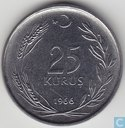 Turkey 25 kurus 1966 (thick planchet)