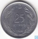 Turkey 25 kurus 1966 (thin planchet)