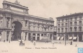 Italia Firenze Piazza Vittorio Emanuele around 1900 - Streetview Car with horse