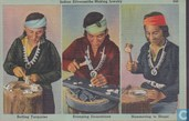 G43 - Navajo Indian silversmiths making jewelry, setting Turquoise, stamping decorations, hammering to shape