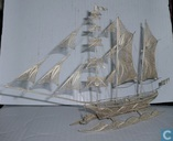 Silver filigree sailing ship