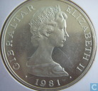 "Gibraltar 1 crown 1981 (PROOF - Silver) ""Wedding of Prince Charles and Lady Diana"""