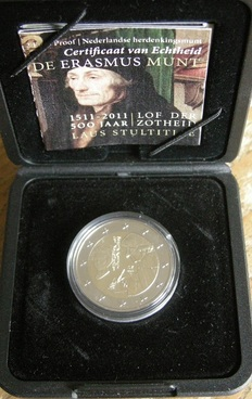 The Netherlands - 2 Euro 2011 (Proof) ´Erasmus´ in case