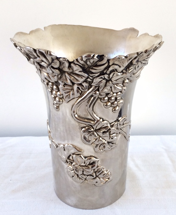 Silver plated Italian Vera Lucino wine cooler with flora decor