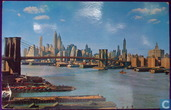 Lower Manhattan skyline showing Brooklyn Bridge. New York City