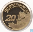 "Frankrijk 20 euro 2002 (PROOF) ""75th anniversary of the first solo flight over the Atlantic without stopover"""