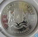 "Somalia 250 shillings 2000 (PROOF) ""rhinoceros"""