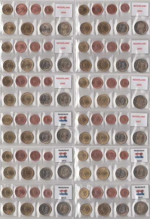 The Netherlands - year series of euro coins, 2002 through 2013, complete
