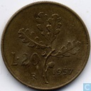 Italy 20 lire 1957 (7 without serif)