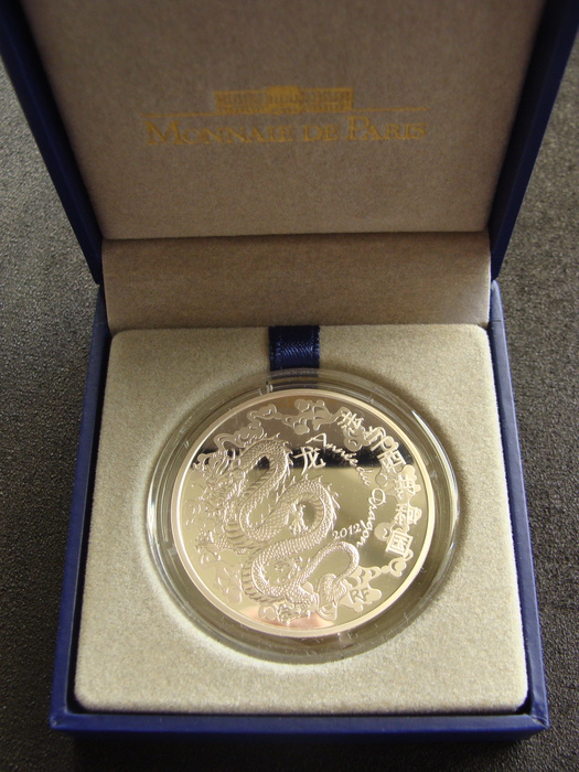 2012 FRANCE  10 EURO SILVER CHINESE YEAR OF THE DRAGON