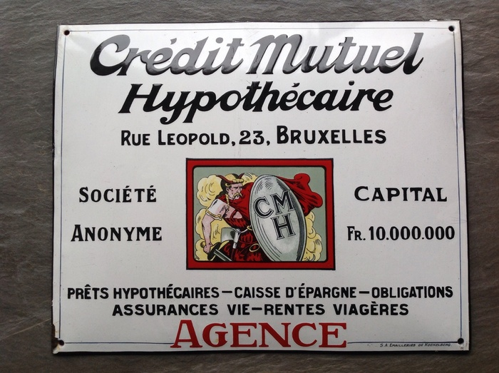 Enamel advertising sign Brusselse Hypotheekbank - ca. 1920