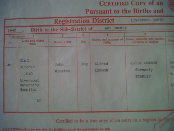 Beatles All 4 Certified Birth Certificates Catawiki