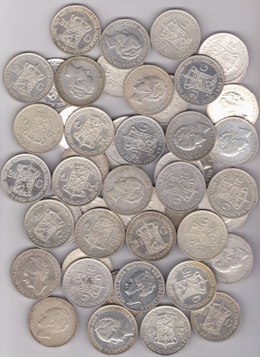 The Netherlands - Batch of 50 pieces of 2½ guilders Wilhelmina 1929/1939 - silver