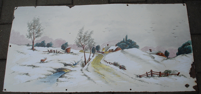 Advert: Drawing of a winterscape - 1950s