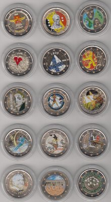 Europe - 2 Euros commemorative 2005/2015 (15 different coins), all coloured