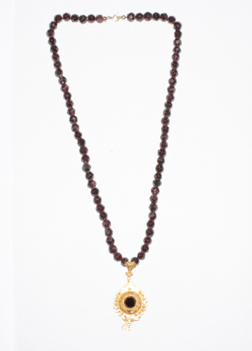 Garnet necklace with 14k gold pendant