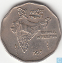 "Inde 2 rupees 1993 (Bombay) ""National Integration"""