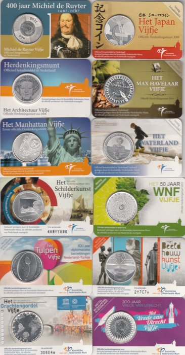 The Netherlands – 5 Euro 2007/2013 (12 different ones) in coin cards