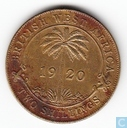 British West Africa 2 shillings 1920 (Tin-brass)