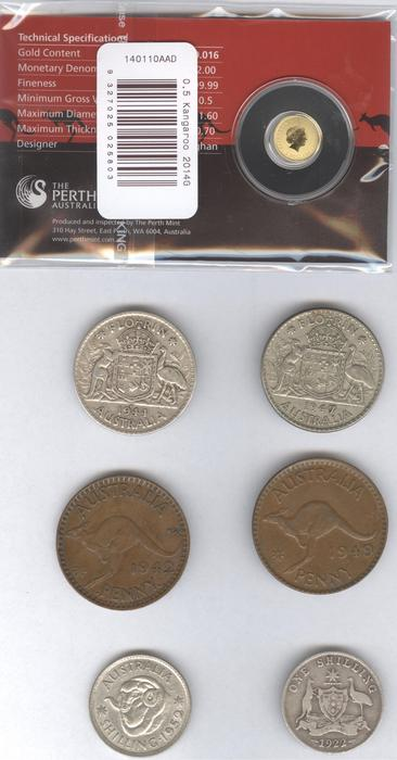 Australia - 1 Florin 1944 and 1947, 1 Shilling 1922 and 1952, 1