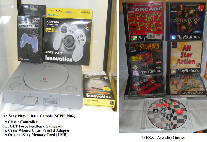 Playstation 1 Console + 7x Games + 1x Classic Gamepad + 1x Force Feedback Gamepad + 1x Cheat Game Wizard Adapter - release 1995 - 2000