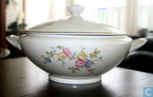Bavaria large soup bowl with flowers and gold